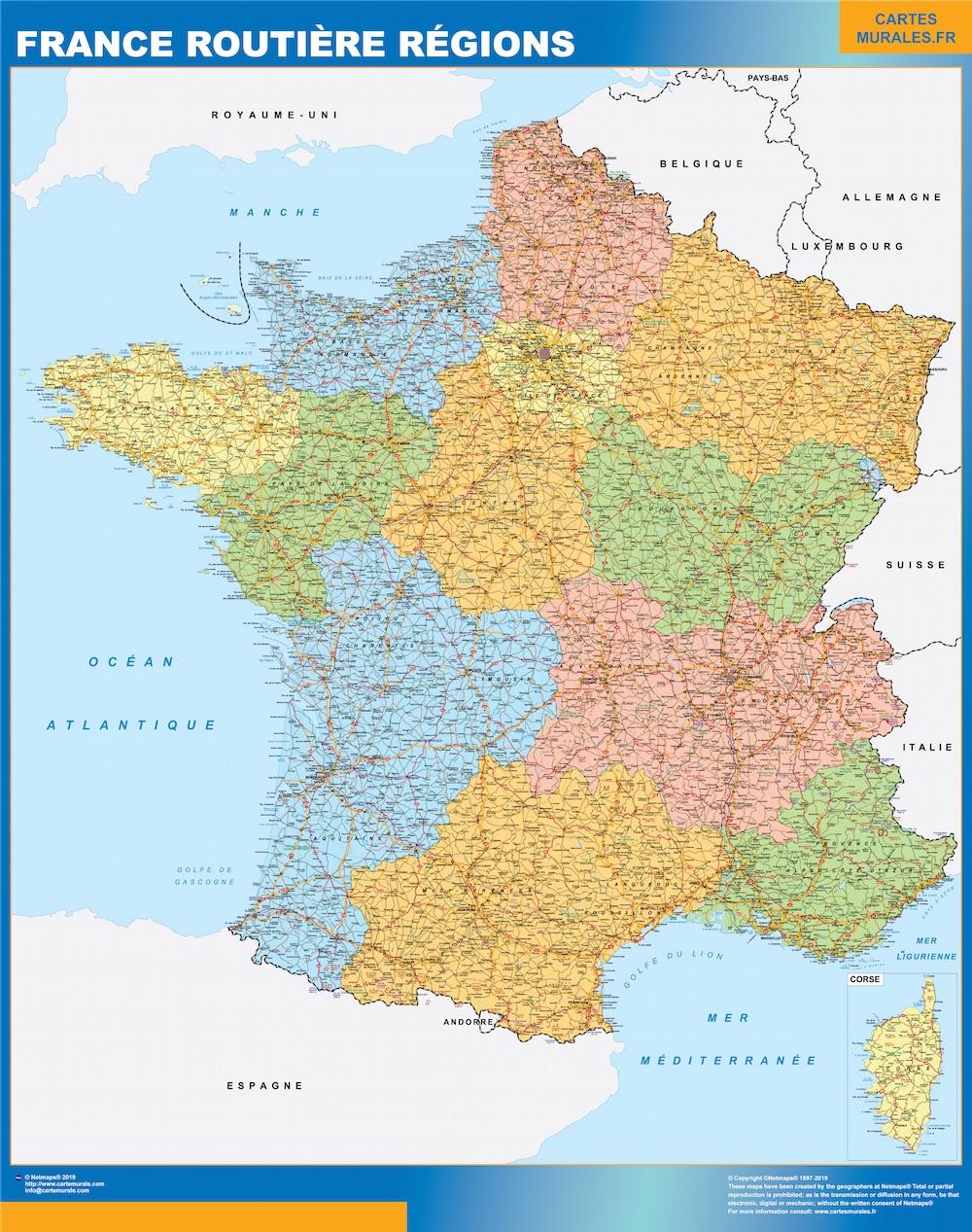 Carte Routiere De France 2019.Carte France Plastifiee Routiere Regions